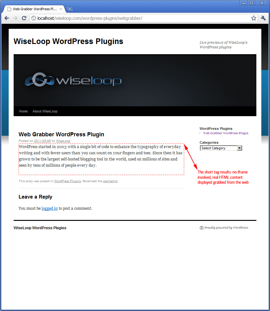 Very simple grabbing of first paragraph from the WordPress website; no post pocessing is done