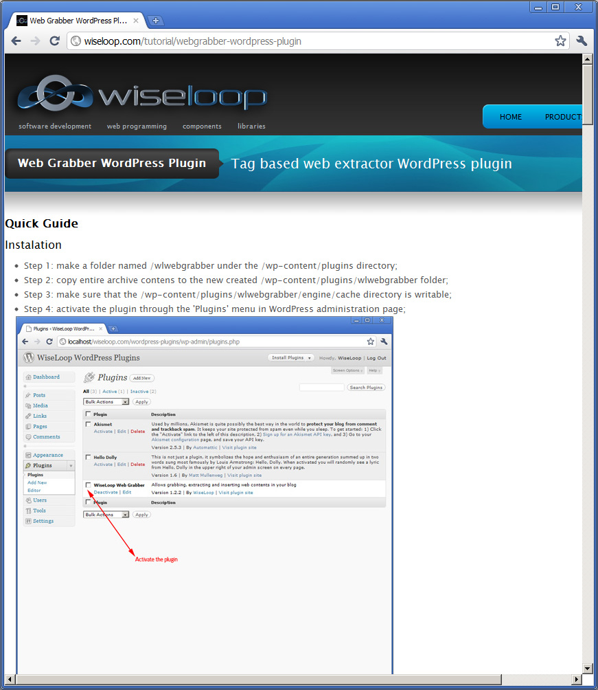 Quick guide included: many samples and how to configure the webgrabber widget