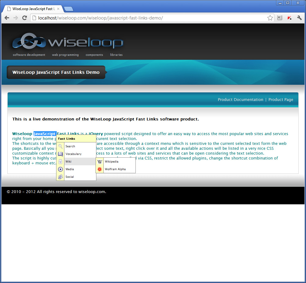 WiseLoop Fast Links Wiki plugins: Wikipedia, Wolfram Alpha.