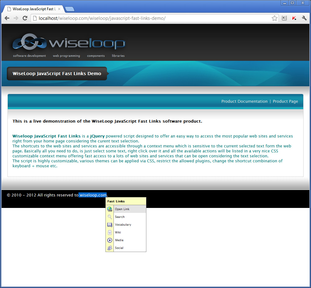 WiseLoop Fast Links detects URLs and offers Open Link option.