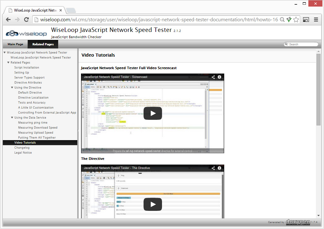 Documentation offers video tutorials showing how to integrate the directive into HTML or how to use the network speed measurement data service and build own AngularJS apps.