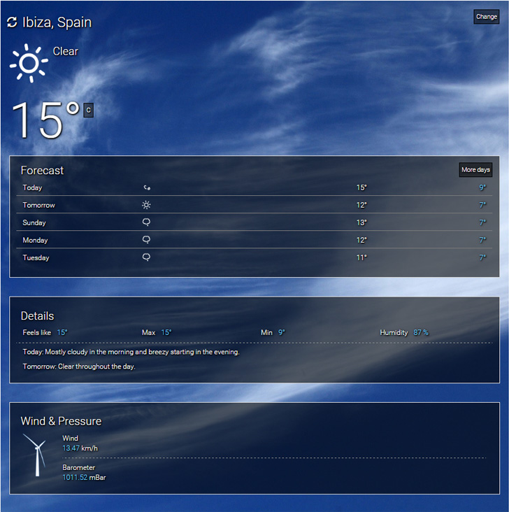 Full page weather condition and extensible forecast