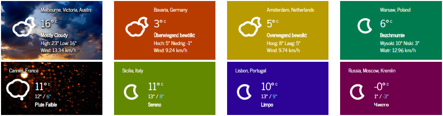 Small widgets displaying current weather conditions with static and dynamic backgrounds