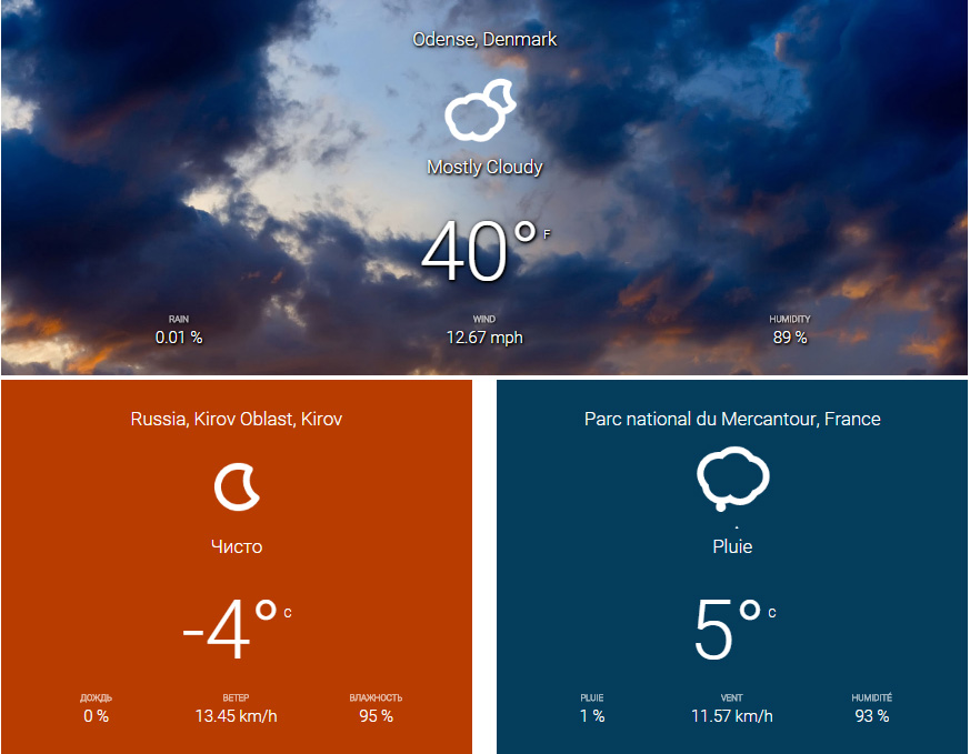 Wide widgets displaying current weather conditions with static and dynamic backgrounds