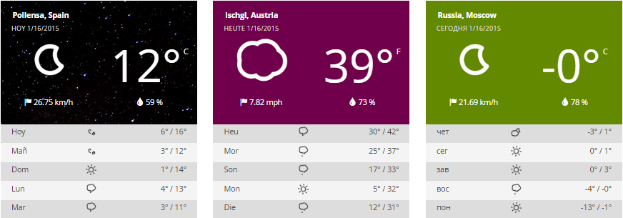 Narrow widgets displaying current weather conditions and forecast with static and dynamic backgrounds