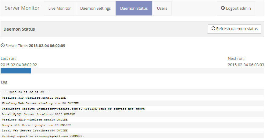 Daemon status screen offers detailed information about the daemon / cron job status